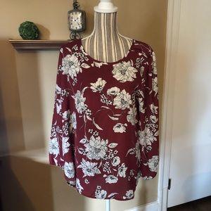 Winter floral print blouse